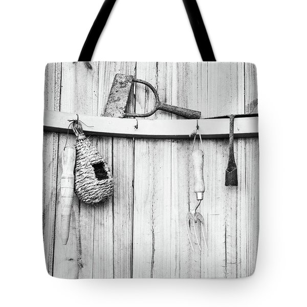 Tote Bag featuring the photograph Garden Tools by Rebecca Cozart