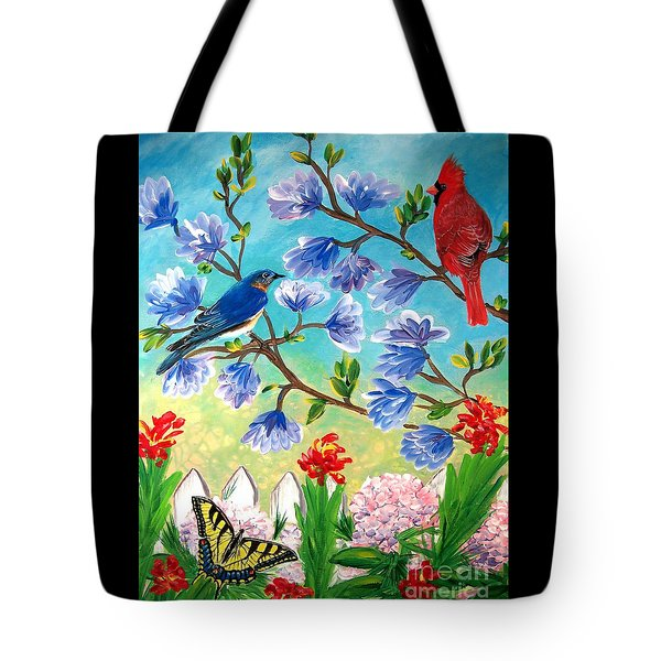 Garden View Birds And Butterfly Tote Bag