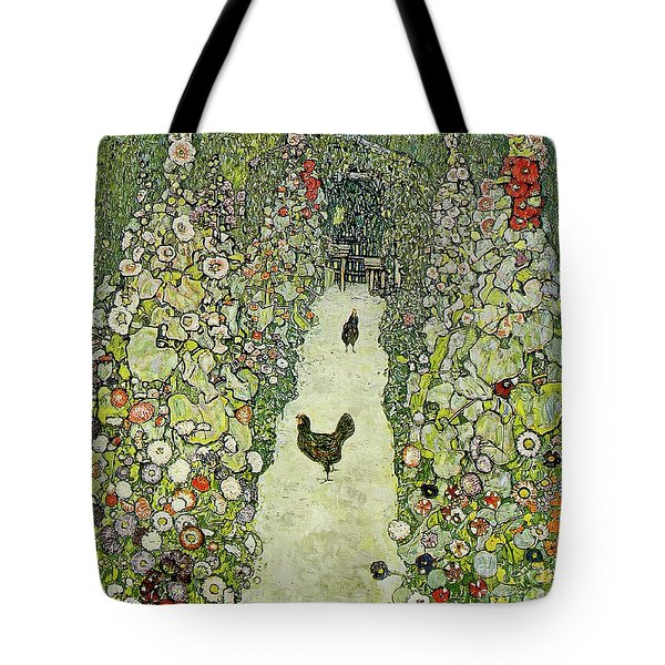 Garden With Chickens Tote Bag