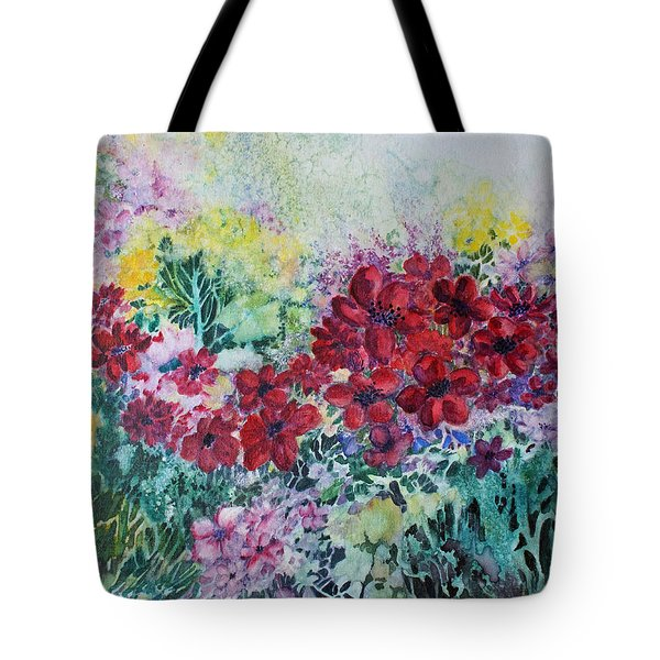 Tote Bag featuring the painting Garden With Reds by Joanne Smoley