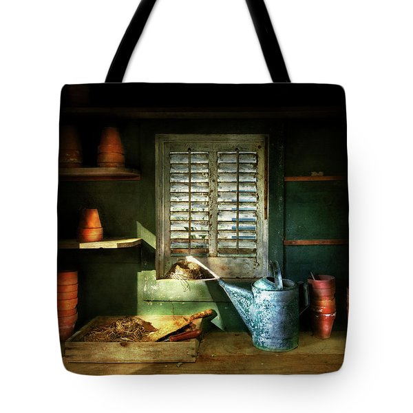 Tote Bag featuring the photograph Gardener - The Potters Shed by Mike Savad