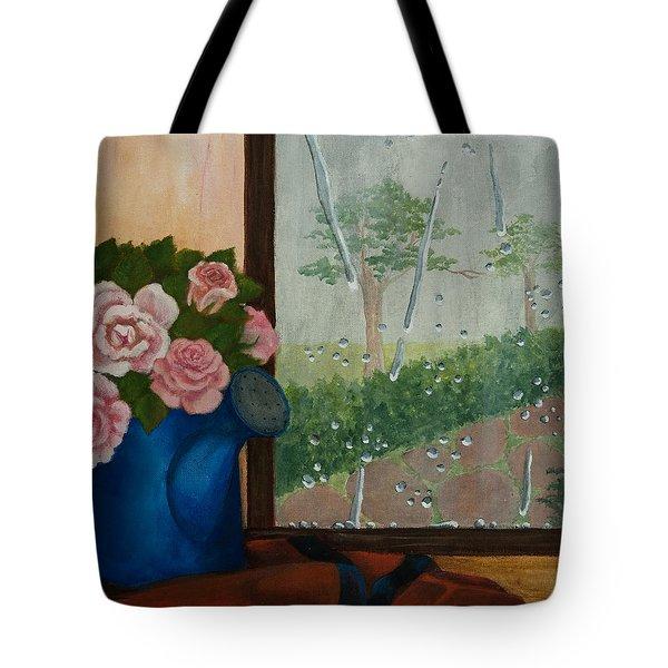 Tote Bag featuring the painting Gardener's Window by Elizabeth Mundaden