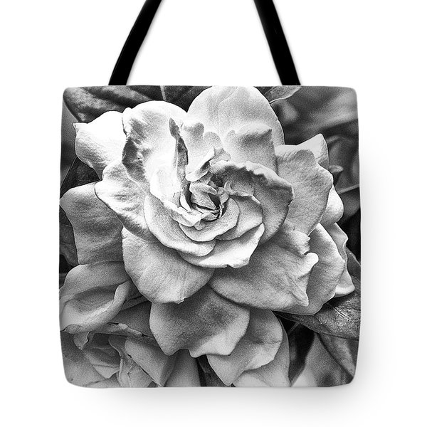 Tote Bag featuring the photograph Gardenia Black And White by Barbara Middleton