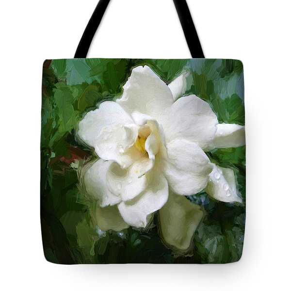 Tote Bag featuring the digital art Gardenia Blossom by Ludwig Keck