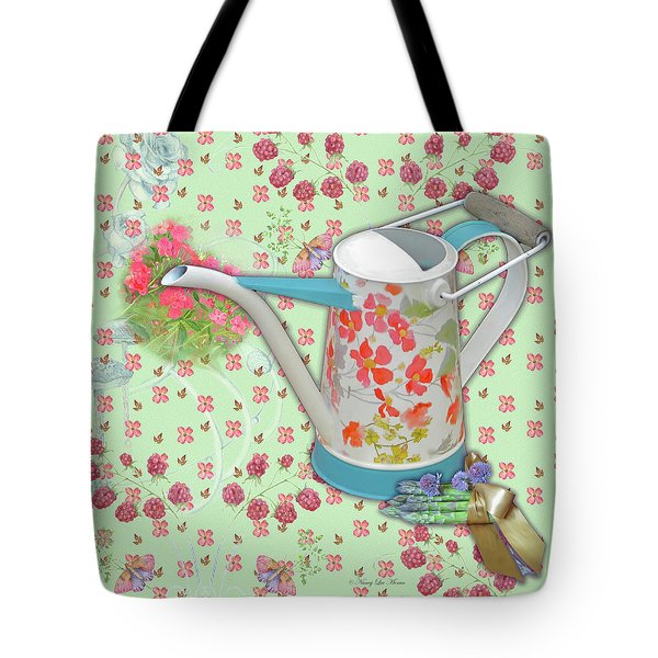 Tote Bag featuring the mixed media Gardening Gifts by Nancy Lee Moran