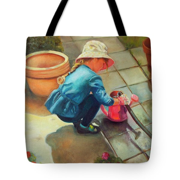 Tote Bag featuring the painting Gardening by Marlene Book