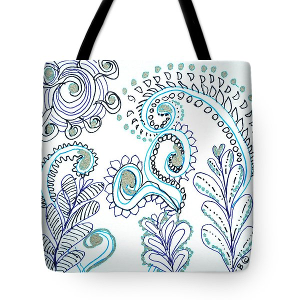 Tote Bag featuring the drawing Gardens by Carole Brecht