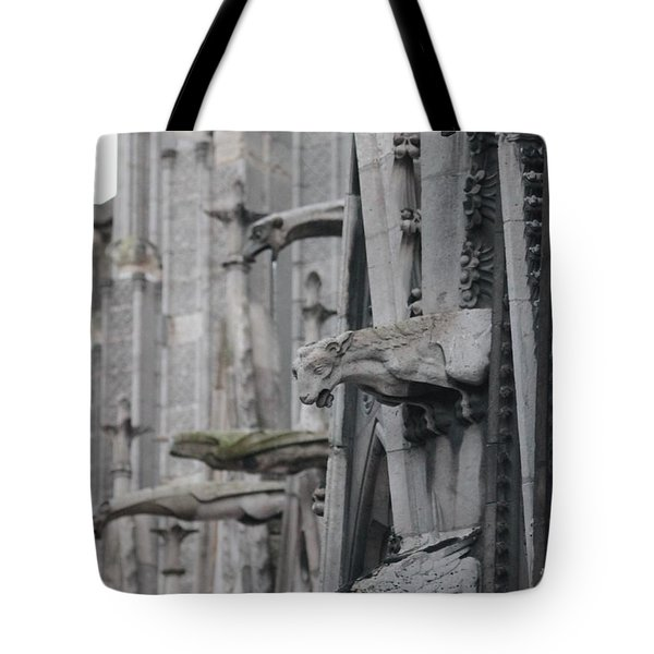 Tote Bag featuring the photograph Gargoyles North Notre Dame by Christopher Kirby