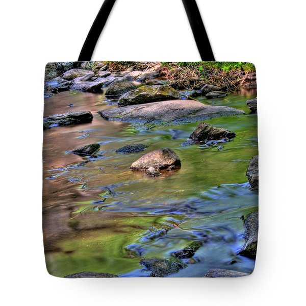 Tote Bag featuring the photograph Garland Falls Dam Vii by Greg DeBeck
