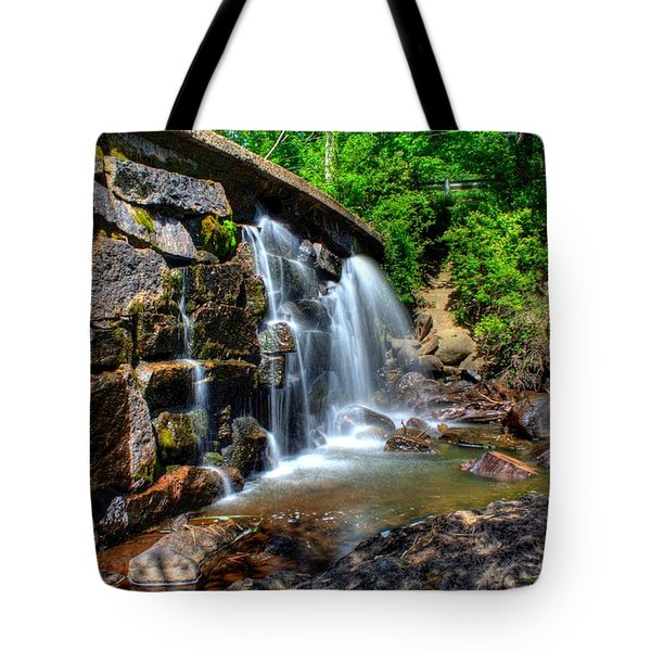 Tote Bag featuring the photograph Garland Falls I by Greg DeBeck