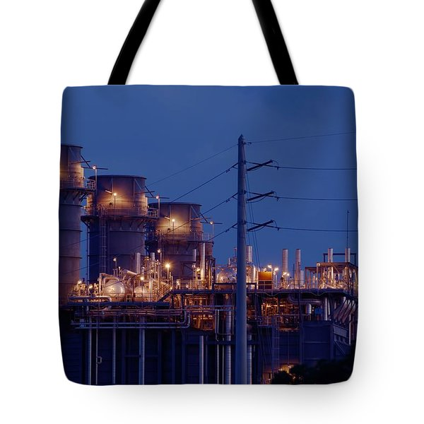 Tote Bag featuring the photograph Gas Power Plant At Night by Bradford Martin