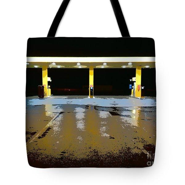 Gas Pumps At Night Tote Bag