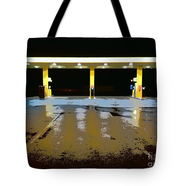 Gas Pumps At Night Tote Bag