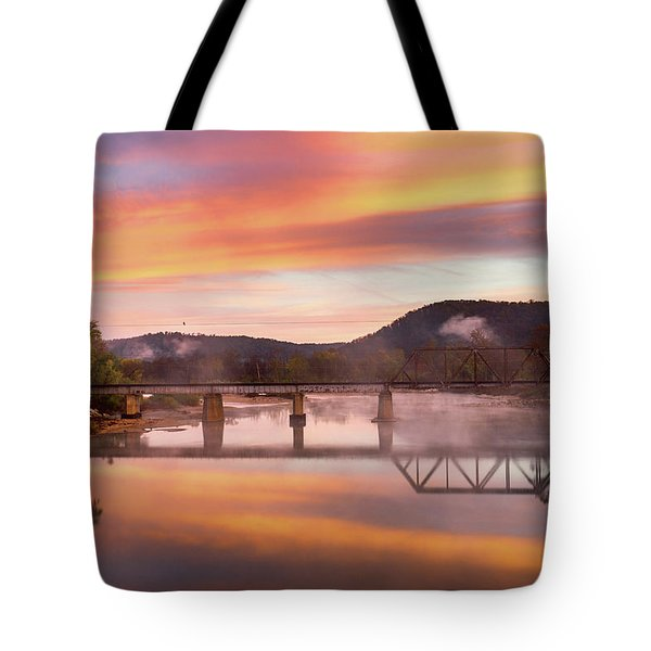 Gasconade River Sunrise Tote Bag by Jae Mishra