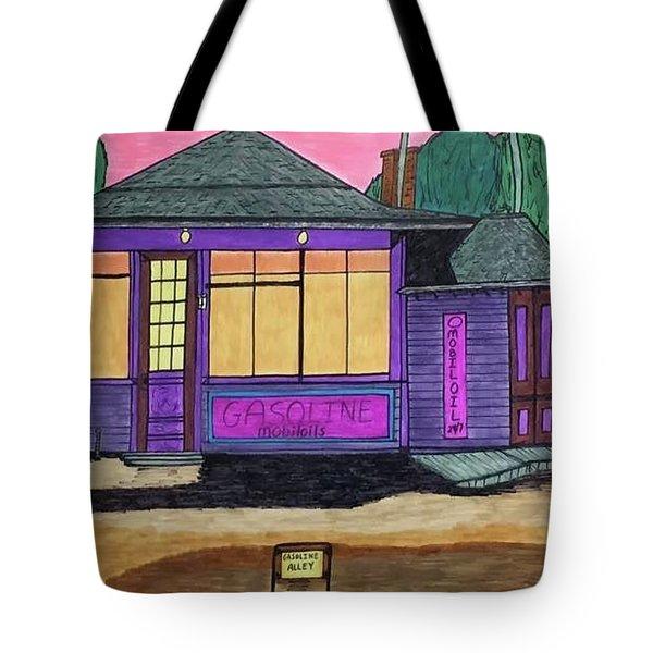 Gasoline Alley Mobil Oil. Historic Menominee Art. Tote Bag by Jonathon Hansen