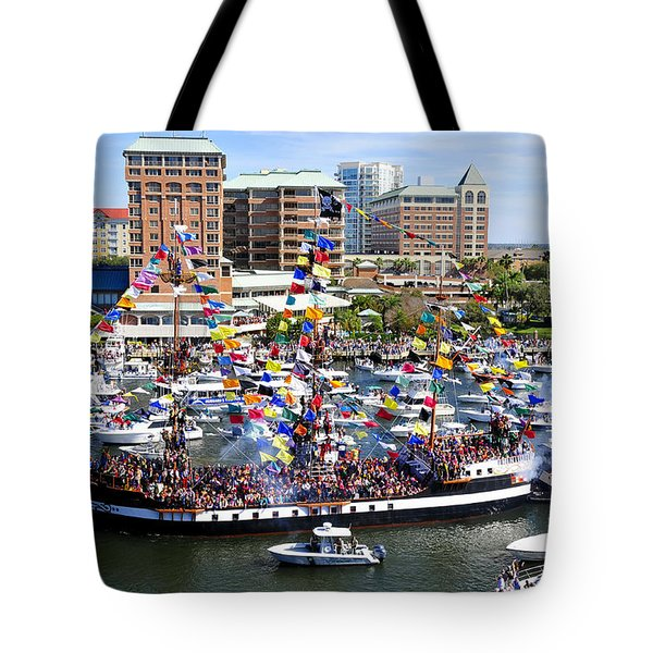 Gasparilla And Harbor Island Florida Tote Bag by David Lee Thompson