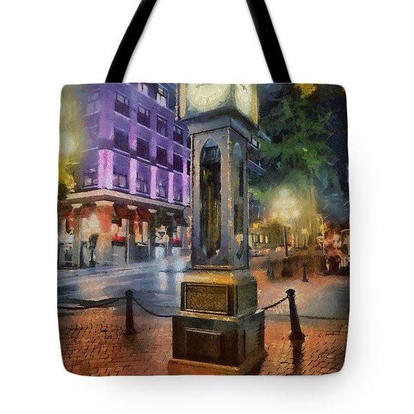 Tote Bag featuring the digital art Gastown Sreamclock 1 by Jim  Hatch