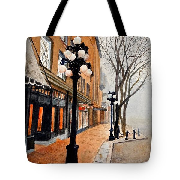 Tote Bag featuring the painting Gastown, Vancouver by Sher Nasser