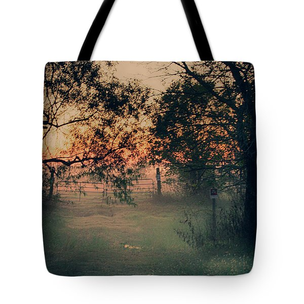 Tote Bag featuring the photograph Gated Sunset by Charles McKelroy