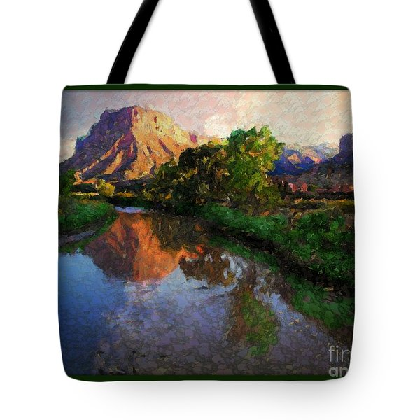 Gateway Colorado Mesa By River Tote Bag by Annie Gibbons