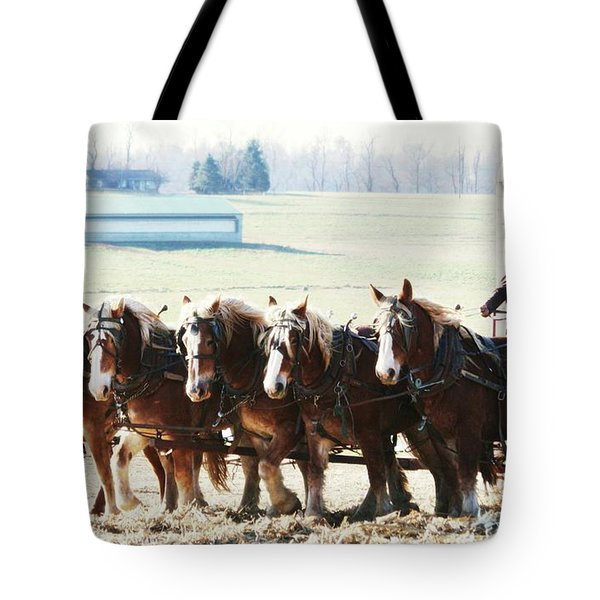 Gathering Up The Hay With A Six Horse Teamin Lancaster County Pennsylvania Tote Bag