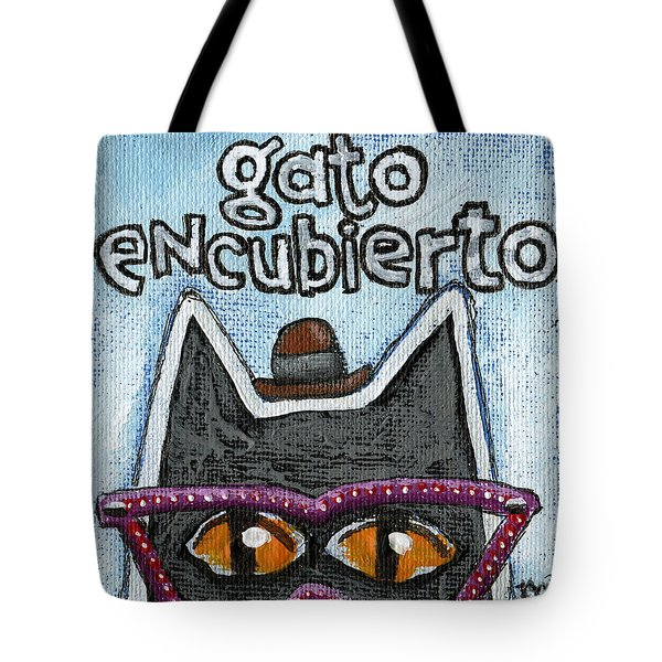 Tote Bag featuring the painting Gato Encubierto by Rick Baldwin
