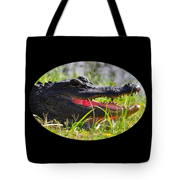 Tote Bag featuring the photograph Gator Grin .png by Al Powell Photography USA