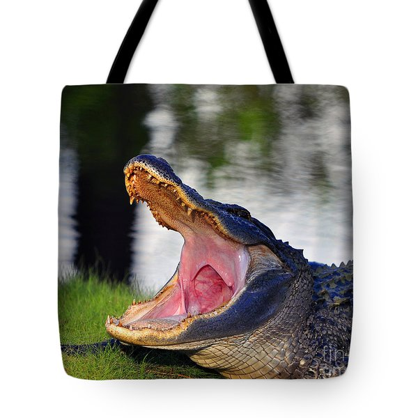 Tote Bag featuring the photograph Gator Gullet by Al Powell Photography USA