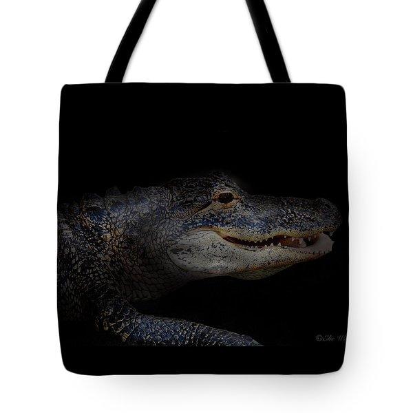 Gator In Black Tote Bag