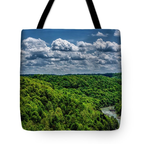 Gauley River Canyon And Clouds Tote Bag