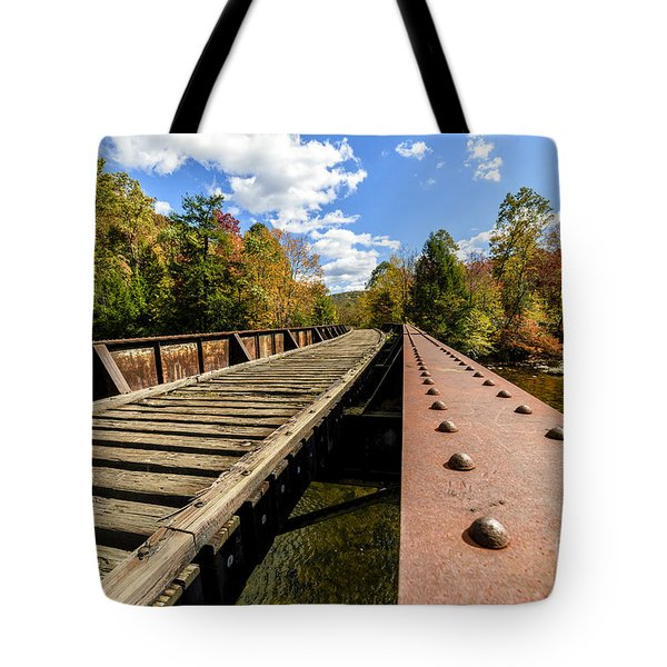 Gauley River Railroad Trestle Tote Bag by Thomas R Fletcher