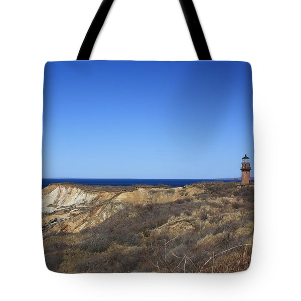 Tote Bag featuring the photograph Gay Head Lighthouse And Cliffs by Greg DeBeck