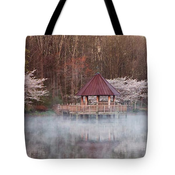 Gazebo And Cherry Trees Tote Bag