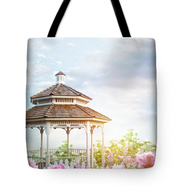 Gazebo In Summer Flower Garden Tote Bag by Sandra Cunningham