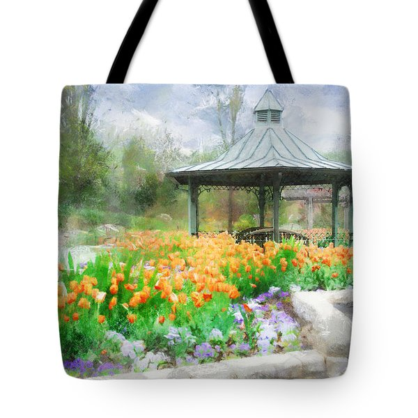 Tote Bag featuring the digital art Gazebo With Tulips by Francesa Miller