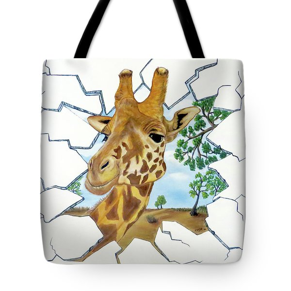 Tote Bag featuring the painting Gazing Giraffe by Teresa Wing