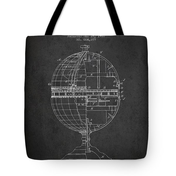 Geaographical Time Globe Patent From 1900 - Charcoal Tote Bag