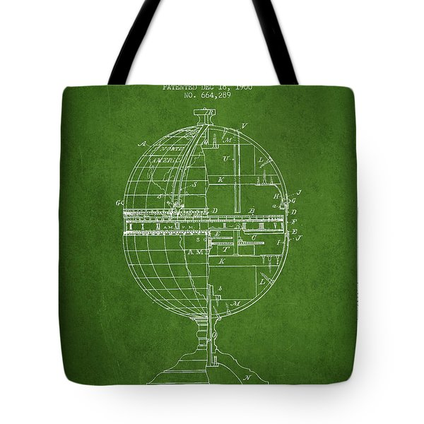 Geaographical Time Globe Patent From 1900 - Green Tote Bag