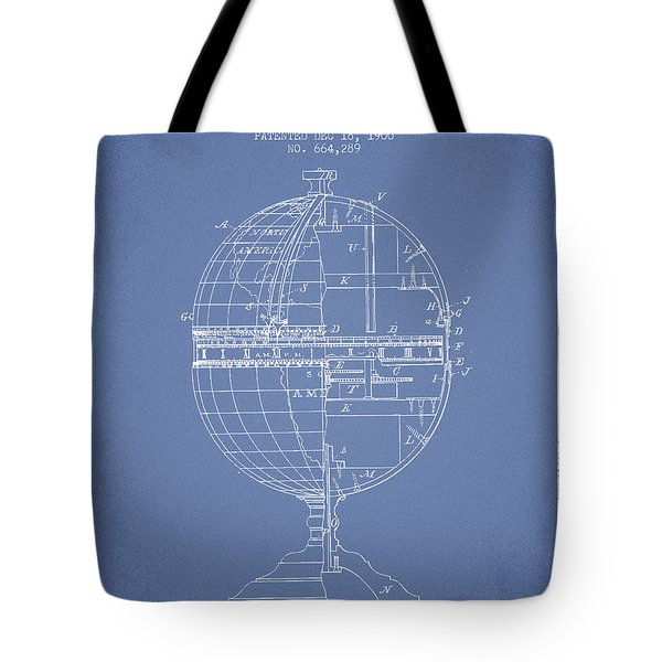 Geaographical Time Globe Patent From 1900 - Light Blue Tote Bag