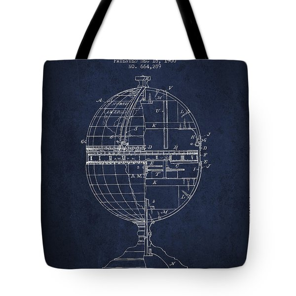 Geaographical Time Globe Patent From 1900 - Navy Blue Tote Bag
