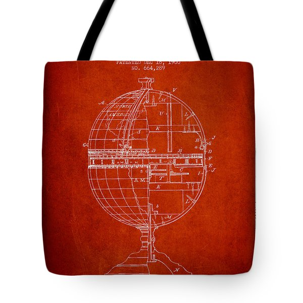 Geaographical Time Globe Patent From 1900 - Red Tote Bag