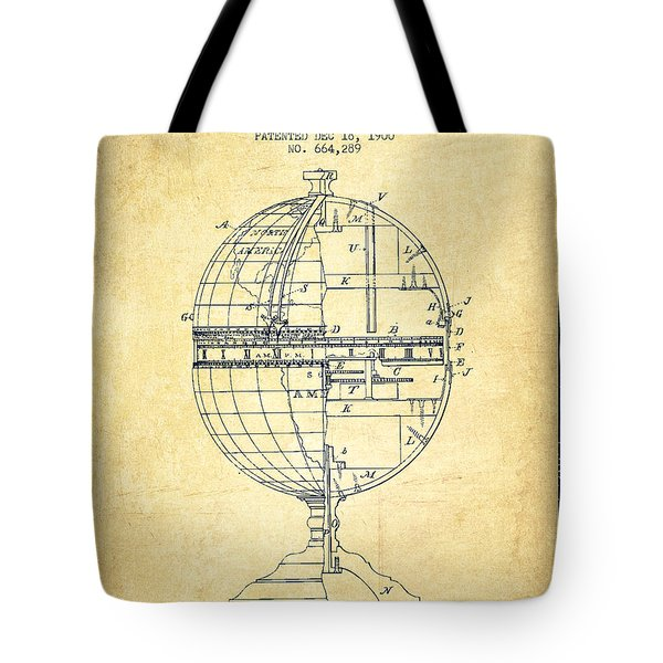 Geaographical Time Globe Patent From 1900 - Vintage Tote Bag