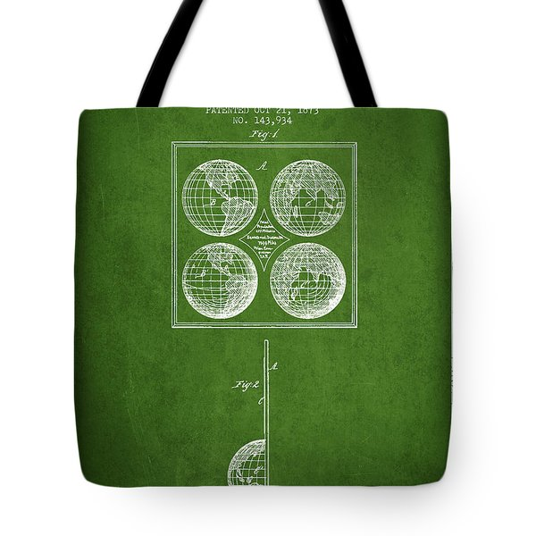 Geaography Apparatus Patent From 1873 - Green Tote Bag
