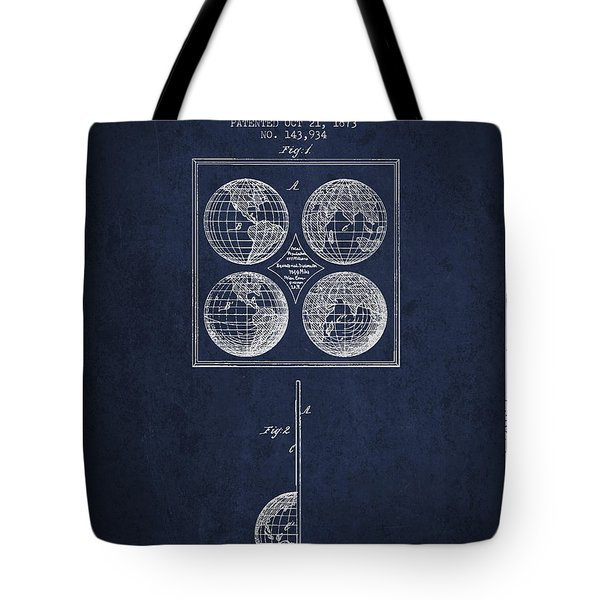 Geaography Apparatus Patent From 1873 - Navy Blue Tote Bag