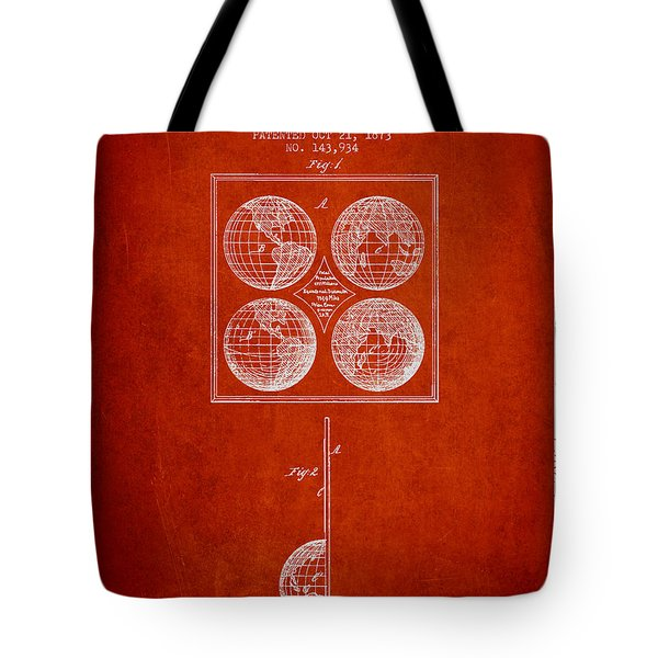 Geaography Apparatus Patent From 1873 - Red Tote Bag