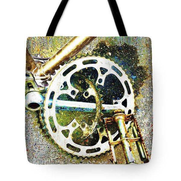 Tote Bag featuring the mixed media Gear by Tony Rubino