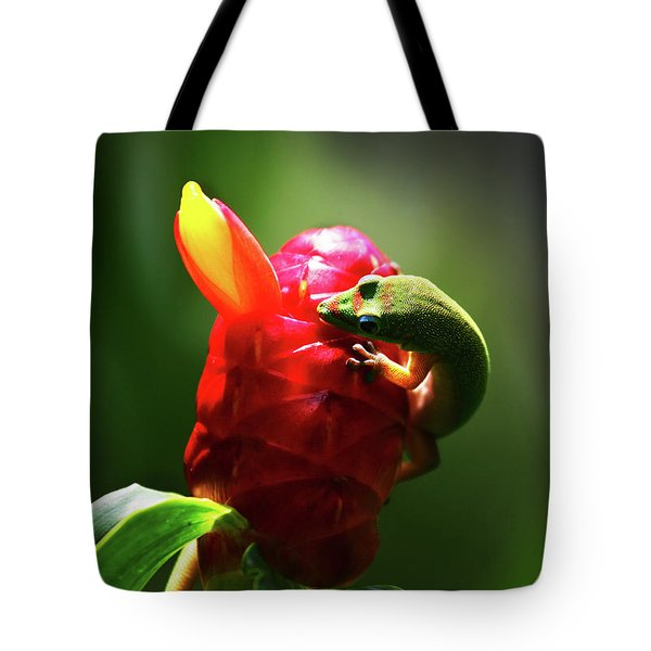 Tote Bag featuring the photograph Gecko #1 by Anthony Jones