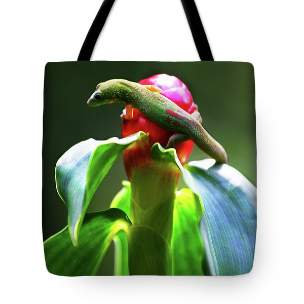 Tote Bag featuring the photograph Gecko #3 by Anthony Jones