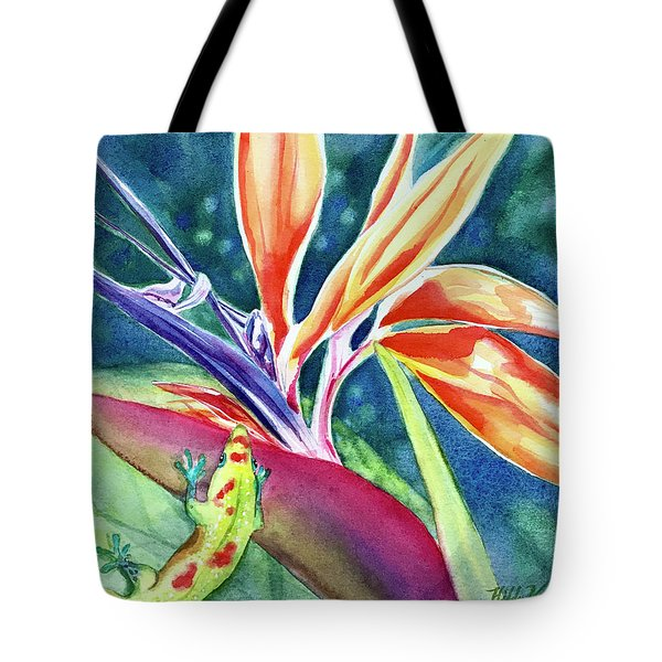 Gecko On Bird Of Paradise Tote Bag