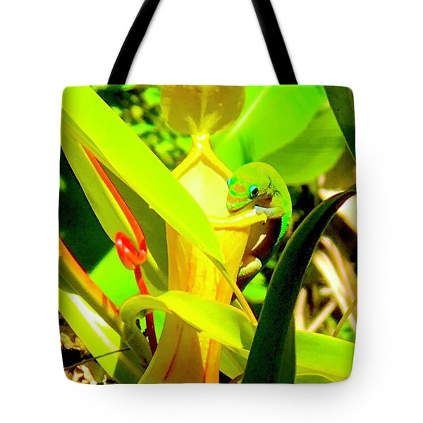 Gecko On Mosquito Catcher Orchid Tote Bag